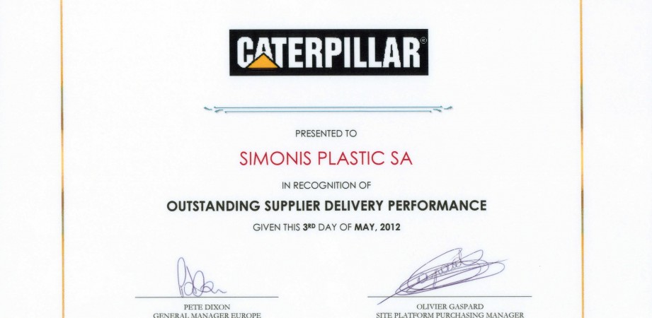 Caterpillar Recognition of Simonis Plastic Outstanding Delivery Performance