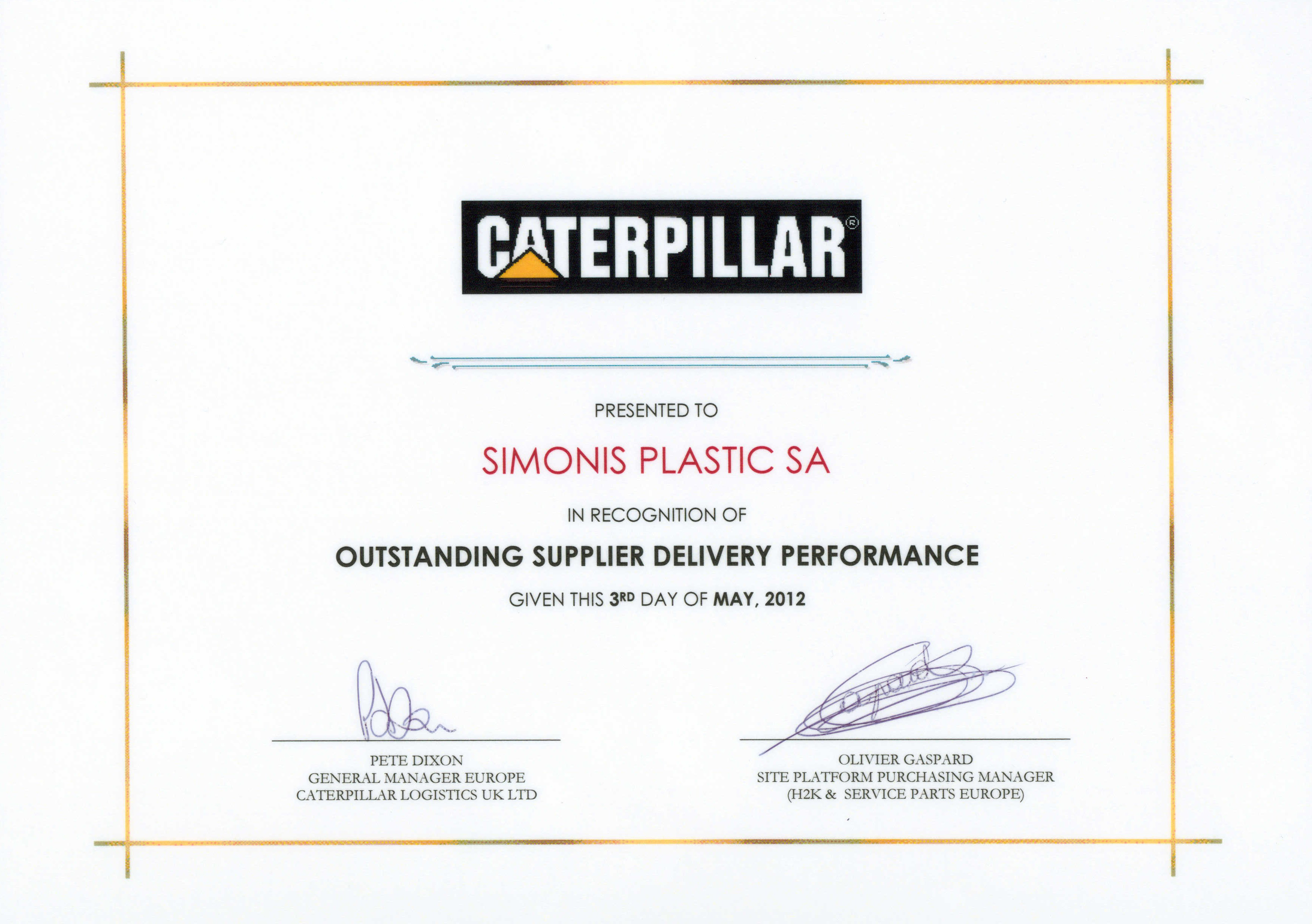 Caterpillar recognition of simonis plastic outstanding delivery caterpillar recognition of simonis plastic outstanding delivery performance xflitez Image collections